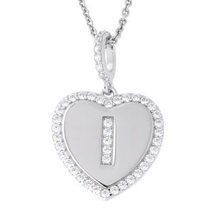 Letter I Initial Heart CZ Pendant Sterling Silver